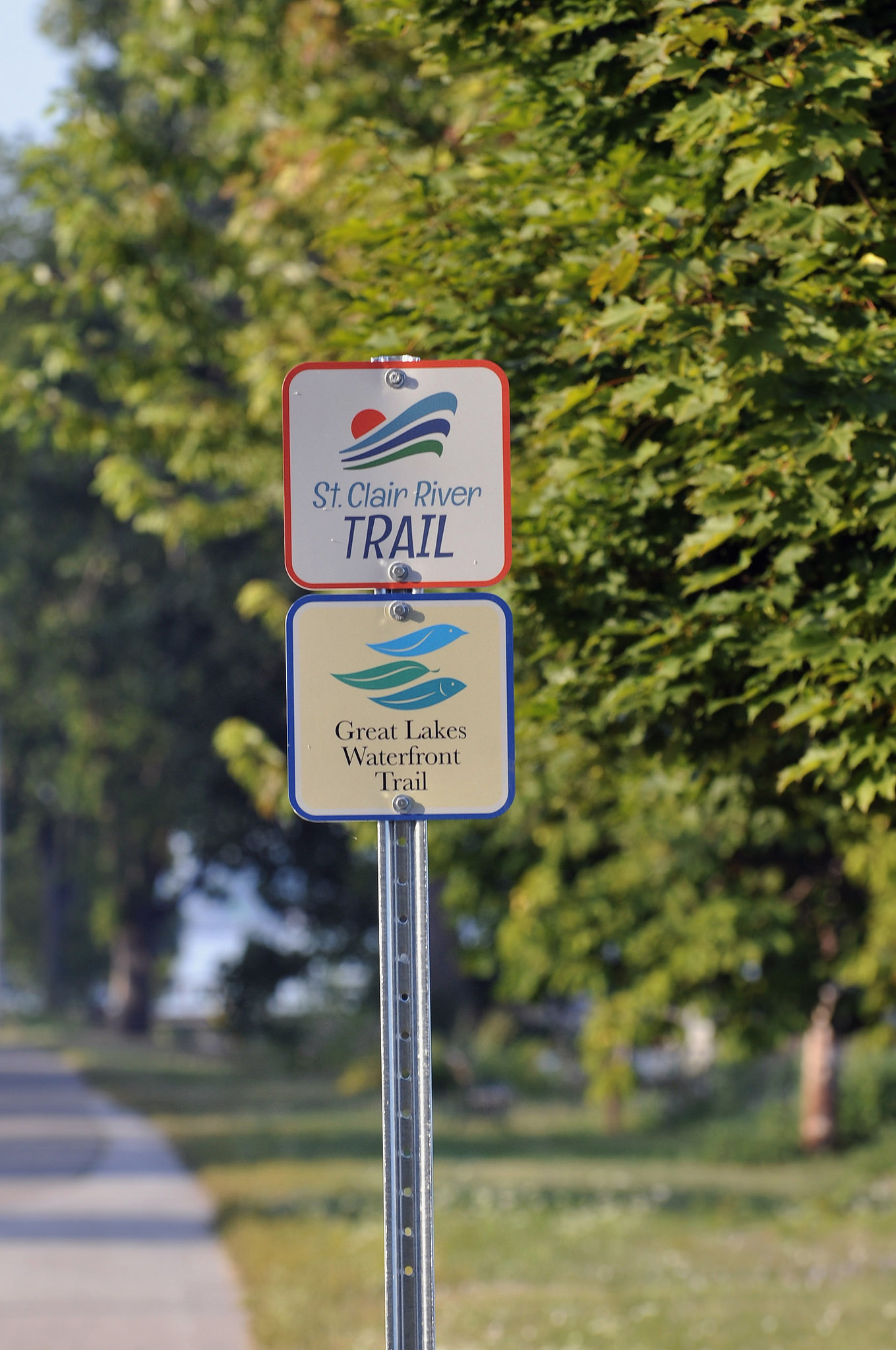 St. Clair River Bike Trail and Great Lakes Waterfront Trail signage