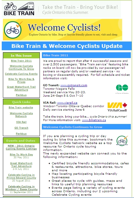 May 2011 - Bike Train / Welcome Cyclists E-Newsletter